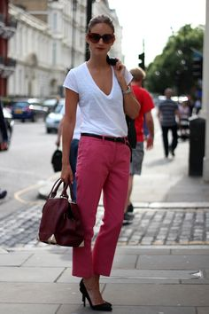 Pink trousers- perfect work casual look - throw a jacket on for a meeting