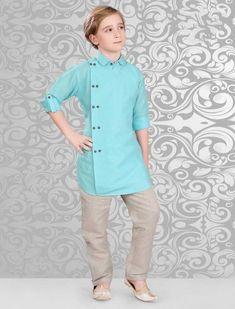 1ce0fdee1aa Boys Aqua Color Pathani Suit, Latest designer boys Indian Wear, Designer  boys Indian wear