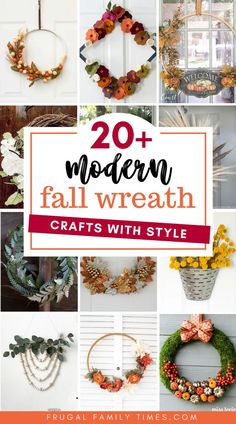 Here are so many unique DIY fall wreath ideas with style! Making fall wreath crafts is a creative and affordable way to celebrate autumn. Included are embroidery hoop wreaths, burlap wreaths, basket wreaths, a paper fern wreath and other simple and modern fall wreath crafts. Easy Fall Wreaths, Diy Fall Wreath, Wreath Crafts, Fall Diy, Wreath Ideas, Diy Garland, Garlands, Felt Flower Wreaths, Fall Crafts
