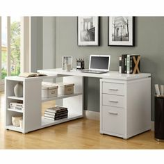 The white corner desk design from Monarch Specialties will give you the right choice for your work area. Made of wood with attractive white finish. Bureau Design, White Desk Furniture, Furniture Design, White Corner Desk, Computer Desk Design, Ikea Desk, Shelves In Bedroom, Wood Bedroom, White Desks