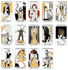 Tarot Deck Part 6/6: All the Blade cards of the Minor Arcana portion of the Tarot Deck done by Cassandra Jean featuring characters from Cassandra Clare's books. ( TMI, TID, TDA, and TLH) WARNING: Spoilers in cards