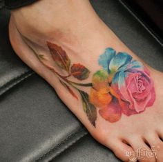 Watercolor Rose Tattoo on Foot by Ewa Sroka