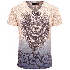 Sale 13% (18.65$) - Chinese Dragon Printing Summer V-neck Short Sleeve Personality Men T-shirt