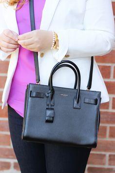 4a432bdfb15 Close up of the Saint Laurent Baby Sac de Jour crossbody Designer Bags, Saint  Laurent