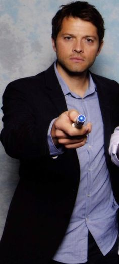 Misha Collins with a sonic screwdriver. If he becomes the next Doctor I think I would lose my shit that would be so awesome.