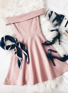 Season of Fun Blush Pink Off-the-Shoulder Skater Dress - Herren- und Damenmode - Kleidung Cute Teen Outfits, Teen Fashion Outfits, Cute Summer Outfits, Stylish Outfits, Fashion Dresses, Fashion Fashion, Cute Outfits For Party, Classy Outfits For Teens, Glamorous Outfits