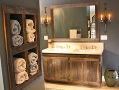 Do this beside of a clawfoot tub  to hold shampoo towels razor etc Antique Wood Vanity and Towel Organizer