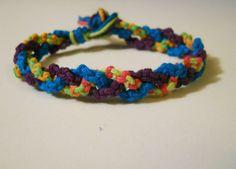 Blue Violet and Neon Braided Hemp Bracelet by PeaceLoveNKnottyHemp, $7.00
