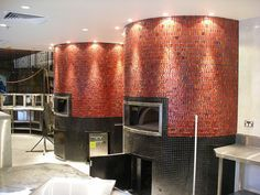 Copper Mosaic Tiled Pizza Ovens Round stone hearth ovens with mosaic facades installed in the Bankstown Sports Club Sydney. For more information on stone hearth ovens visit our website! Wood Burning Oven, Wood Fired Oven, Wood Fired Pizza, Pizzeria, Pizza Restaurant, Restaurant Design, Italian Restaurant Decor, Wood Pizza, Pizza Art