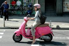Pink scooter!  All this needs is a zebra print seat cover!!