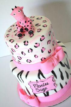 Baby Girl Safari Pink Baby Shower Cake Www.sweetandsassycakes.blogspot.com