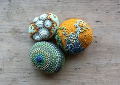 a stone completed - felted and stitched - by the fabulous @Lisa Jordan