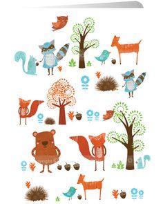 "Little Forest: Greeting card by Santoro London (124 x 169 mm / 4.9"" x 6.7"",  £2.50) #illustration #card #bear #fox #squirrel #deer #bird #hedgehog #raccoon #forest #santoro"