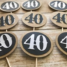 40th Birthday Cupcake Toppers Set of 12 – Whiskey or Beer Themed Birthday Party - 40th Birthday for Men - Kraft Brown Black White by ArtisticAnyaDesigns on Etsy https://www.etsy.com/listing/539323232/40th-birthday-cupcake-toppers-set-of-12