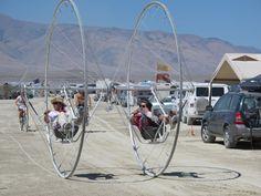 Incredible tandem bike at Burning Man #bicycle via http://westcoastflyingadventures.com/2012/09/20/flying-to-burning-man-black-rock-airport/