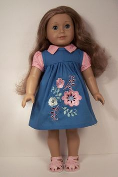 2pc Blue Flower Jumper-Dress w/Pink Blouse Doll Clothes For American Girl DEBs