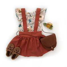 The cutest baby girl outfit with floral top and overall dress with flats and bag to add Little Girl Outfits, Little Girl Fashion, Toddler Fashion, Toddler Outfits, Kids Fashion, Babies Fashion, Cute Baby Girl, Cute Babies, Outfits Niños