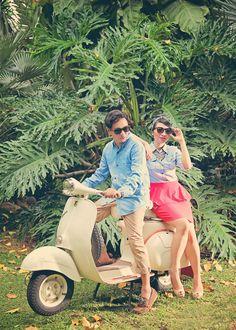 Bella & Reza Vespa, Romantic, Bike, Photography, Wedding, Wasp, Bicycle, Valentines Day Weddings, Hornet