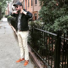 Prepping for my close-up among Brooklyn brownstones. 'Win Always' Graphic Tee & Flat Wool Cap by @bridgeandburn. Denim jacket by @americanapparelusa. Light Mercer Denim by @mottandbow. Cooper Boat Shoes in Caramel Nubuck by @jackerwin. Waterbury Chrono from the @timex x @redwingheritage collab! Striped webbed belt by @jcrew. Sunglasses by @spine_optics. : @oliviahayhoe. by beauhayhoe