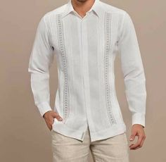 Guayabera Handicraft Embroidery for Wedding. Exquisite design. Exclusive. ! - Premium Hight Quality Italian Linen Guayabera. Guayabera style. Mexican tucks. These Mexican wedding shirts are long sleeves with French Button cuff, DO NOT come with cuff links.Cuff Links available in this web.Dry Clean for best result. A classic an sublimely soft Linen 100 %. Availability is subject to change .Manufacture in Mexico Hand Craft embroidery. Italian Linen Guayabera for wedding. Wedding  Guayabera…