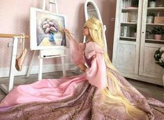 😱💖💖 Via: Trisha Layons Cosplay Barbie Costume, Cosplay Costumes, Barbie Dolls, Rapunzel Cosplay, Barbie Drawing, Princess And The Pauper, Princess Rapunzel, Princess Barbie, Barbie Movies