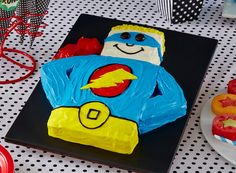 Superhero Party Food!  Crime fighters know how to work up a hunger—it's part of the job. So when it comes to feeding them, nothing short of hero sandwiches will do. Throw in some watermelon and cantaloupe fruit pops, veggie roasted potato chips, plus colorful soda to wash it all down, and you've got a meal of epic proportions.  http://www.bettycrocker.com/menus-holidays-parties/mhplibrary/birthdays/superhero-birthday-party