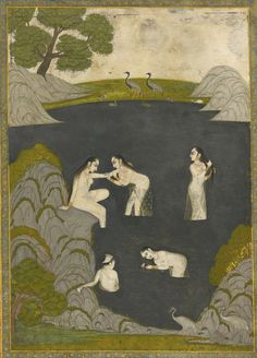 "signorformica: ""Ladies Bathe in a Rocky Pool. India, Awadh, late c. Bibliothèque Infernale on FB "" Mughal Paintings, Indian Paintings, Traditional Paintings, Traditional Art, Indiana, Ancient Indian Art, Indian Artist, Historical Art, Erotic Art"