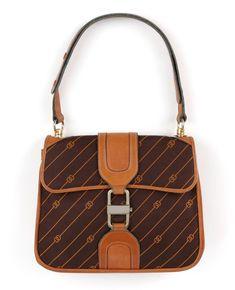 e0c101f50646 GUCCI c.1970's Brown GG Monogram Jacquard Tan Leather Flap Top Shoulder Bag  RARE