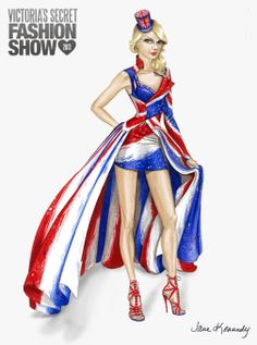 Illustration by Jane Kennedy for the Victoria's Secret Fashion Show 2013, British Invasion look for Taylor Swift www.janelkennedy.com