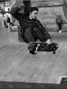 Mike Vallely, 1988 Brooklyn Bridge Banks. Great skateboard pro that I learned a few old-school moves from when he appeared in Tony Hawk's Trick Tips dvd in 2002.
