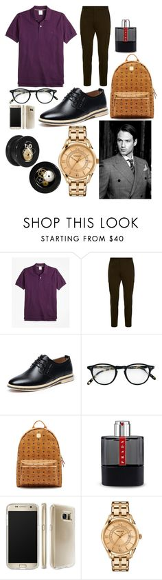 """""""Tyson 'Ty' Drake 1"""" by hannah-graves ❤ liked on Polyvore featuring Brooks Brothers, Dsquared2, Garrett Leight, MCM, Prada, Speck, Versace, men's fashion and menswear"""