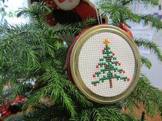 Christmas Tree Cross-Stitch Jar Lid Ornament