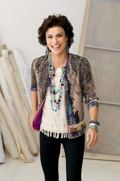Pleated Paisley Jacket with Tiered Fringe Top #chicos