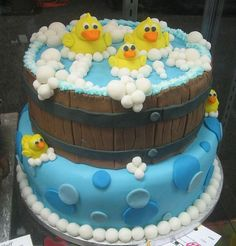 #Cute Rubber Duckies in the #Tub #Cake! We love and had to share! Great #CakeDecorating!
