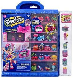"""Shopkins Season 7 Join the Party Collector's Case with 8 Exclusive Glow Shopkins: Create your own """"one stop Shopkins shop"""" for your Shoppies to adore! It's so much more than your average store! Because once you shop, you can't stop! Shopkins Playsets, Shopkins 7, Shopkins Season 7, Shopkins Gifts, Baby Dolls For Kids, Baby Girl Toys, My Little Pony Backpack, Baby Hamster, Moose Toys"""
