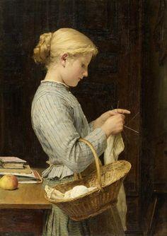 Альберт Анкер, Strickendes Mädchen, 1888