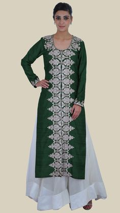Tilla Embroidered Emerald Green Pure Raw Silk Jacket With Skirt