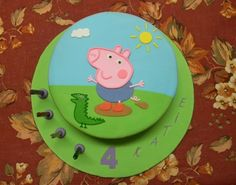 """George Pig Birthday Cake - My daughter requested a """"George Pig' cake for her birthday, and here it is! It is a mud cake with green buttercream filling. Tarta George Pig, George Pig Cake, George Pig Party, 3rd Birthday Parties, Birthday Ideas, 2nd Birthday, Peppa Pig Birthday Cake, Cake Templates, Party Cakes"""