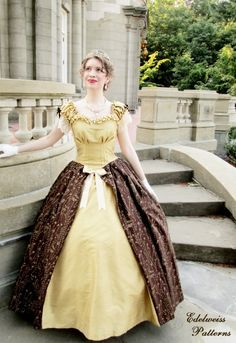 A gold silk ball gown, circa Edelweiss Patterns Ball Gown Dresses, 50s Dresses, Vintage Dresses, Elegant Ball Gowns, Red Velvet Dress, Gold Silk, Edwardian Fashion, Clothing Patterns, Sewing Patterns