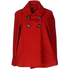 ROUTE des GARDEN Cape ($130) ❤ liked on Polyvore featuring outerwear, coats, jackets, tops, red, sleeveless wool coat, sleeveless cape, woolen coat, double breasted wool coat and cape coat