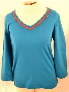 Ruby Rd. Ladies Size Medium Long Sleeve Blue Green Pullover Blouse