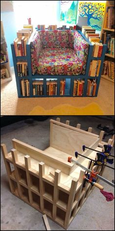 "Learn how to build a biblio chair! http://theownerbuildernetwork.co/fwk8 If you love books and reading, you've got to love this idea! All you need now is for someone to bring your refreshments every now and again :) This bookshelf chair fits normal door openings as it measures just 41.5″ wide by 34.5″ long and 29"" tall. That's about the same size of regular single seat sofas. But since this chair is also a bookshelf, we recommend it as a good piece of space-saving furniture! What do you th"