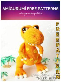Amigurumi T-Rex Dino Free Crochet Pattern - Amigurumi Free Pinto Live Crochet Dinosaur Pattern Free, Crochet Amigurumi Free Patterns, Free Crochet, Crochet Dolls, Crochet Dragon, Stuffed Animal Patterns, T Rex, Crochet Projects, Stay Tuned