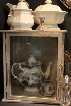 Taken For Granite is always one of our favorite shops to visit. The owner, Michele always finds the most interesting vintage items a. Antique Dishes, White Dishes, Altered Boxes, French Cottage, White Decor, Fleas, Granite, Black And Brown, Vintage Items