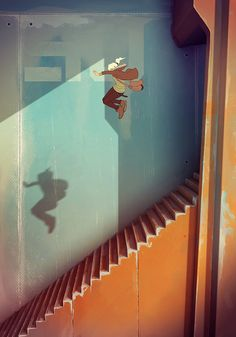 Cake or Death | Guillaume Ospital portfolio I used to have dreams of jumping down staircases just like she is.