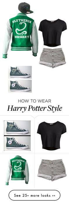 """Slytherin Pride"" by leggs-m on Polyvore featuring Pieces and Converse"