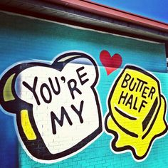 "Visit The ""You're My Butter Half"" Mural Things to Do in Austin, Texas Austin Texas, Visit Austin, Austin Murals, Valentines Date Ideas, Stuff To Do, Things To Do, Girly Stuff, Street Art, Texas Travel"