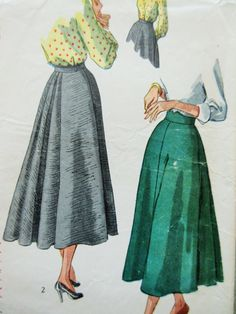 Vintage Simplicity 2608 Sewing Pattern, 1940s Skirt Pattern, Full Skirt, Waist 24, Back Pleats, 1940s Sewing Pattern, Forties Skirt Pattern by sewbettyanddot on Etsy
