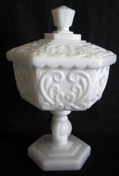 """Imperial Glass milk glass candy """"Atterbury Scroll"""""""