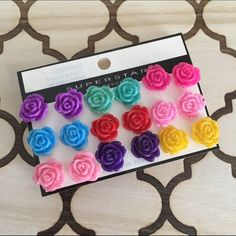Glitter roses earring set Just listed! Only ONE available This gorgeous [9 pair] earring set is brand new / comes in packaging / offers considered / bundles encouraged / thank you for shopping my closet / xx, blessings! ♥️ Jewelry Earrings